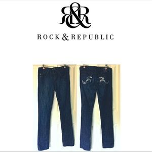 Rock & Republic Jeans Dark Wash Rhinestones